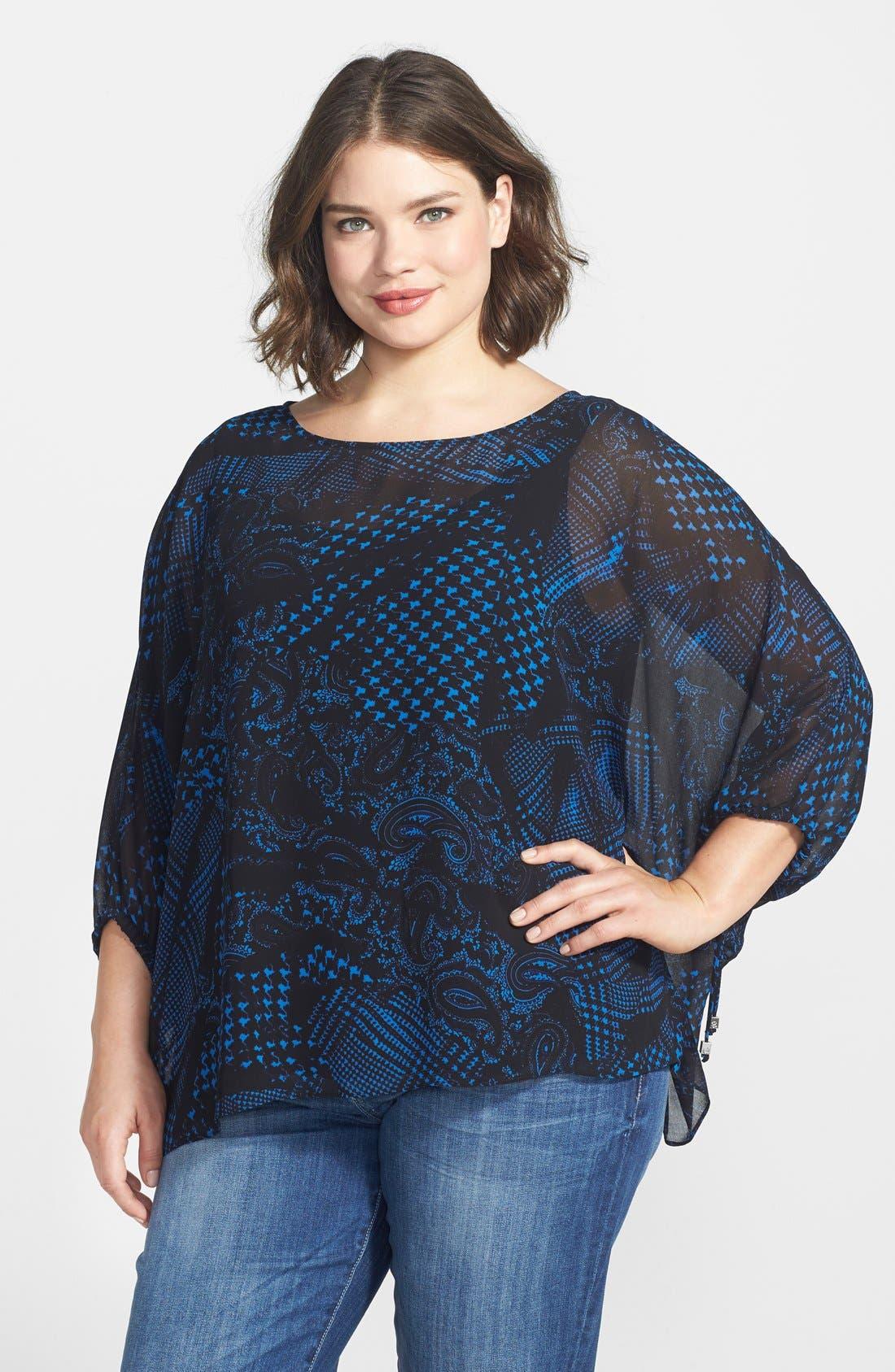 Main Image - MICHAEL Michael Kors Foulard Print Kimono Sleeve Top (Plus Size)