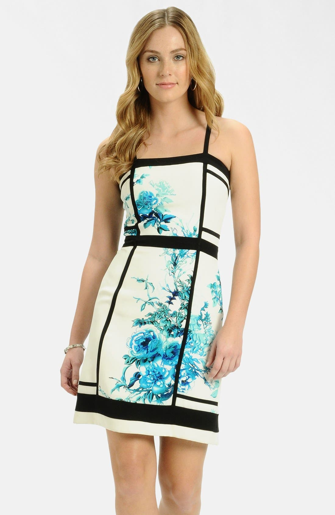 Main Image - LABEL by five twelve Framed Print Crepe Sheath Dress