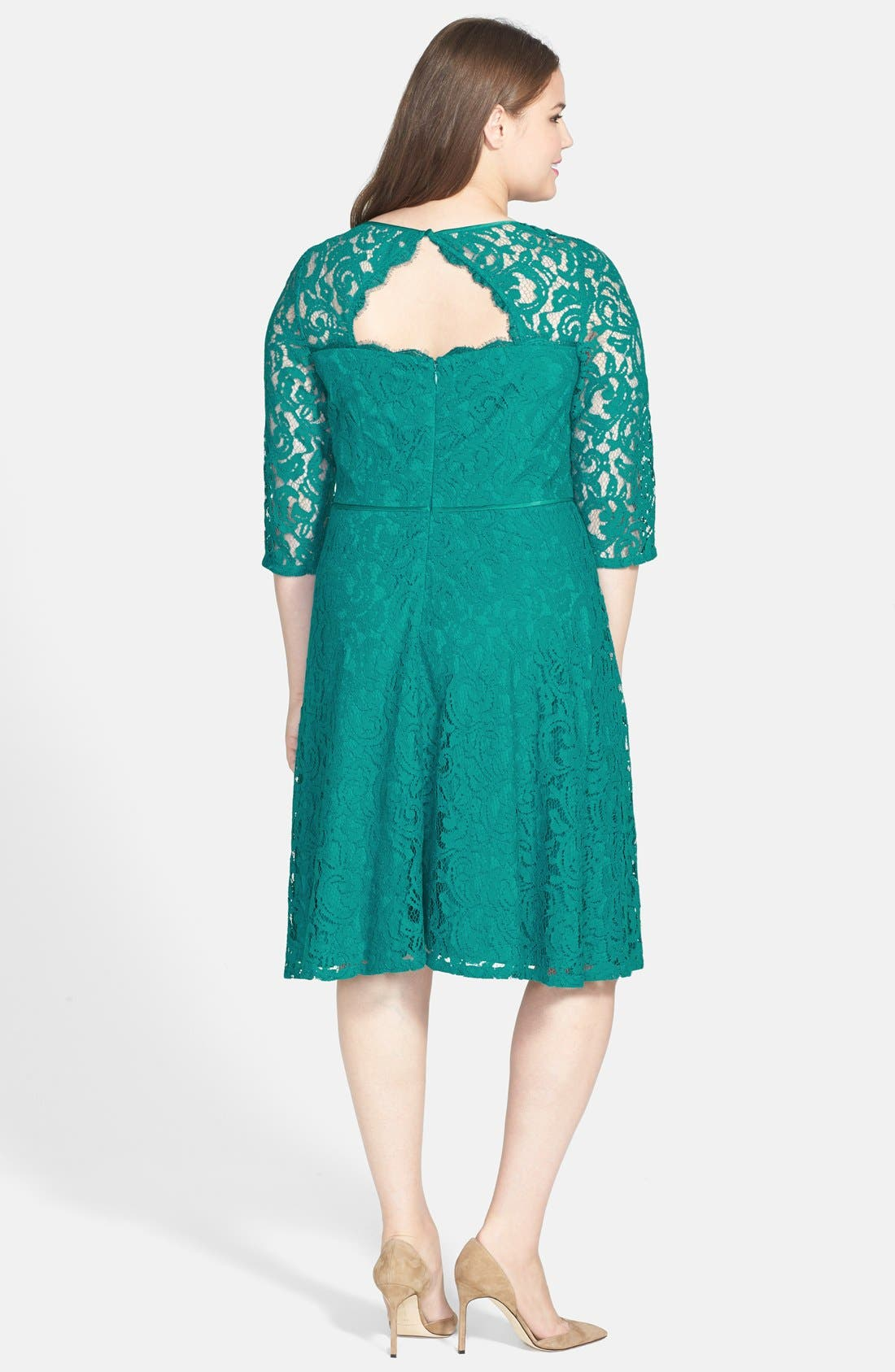 Alternate Image 2  - Adrianna Papell Cutout Back Lace Fit & Flare Dress (Plus Size)
