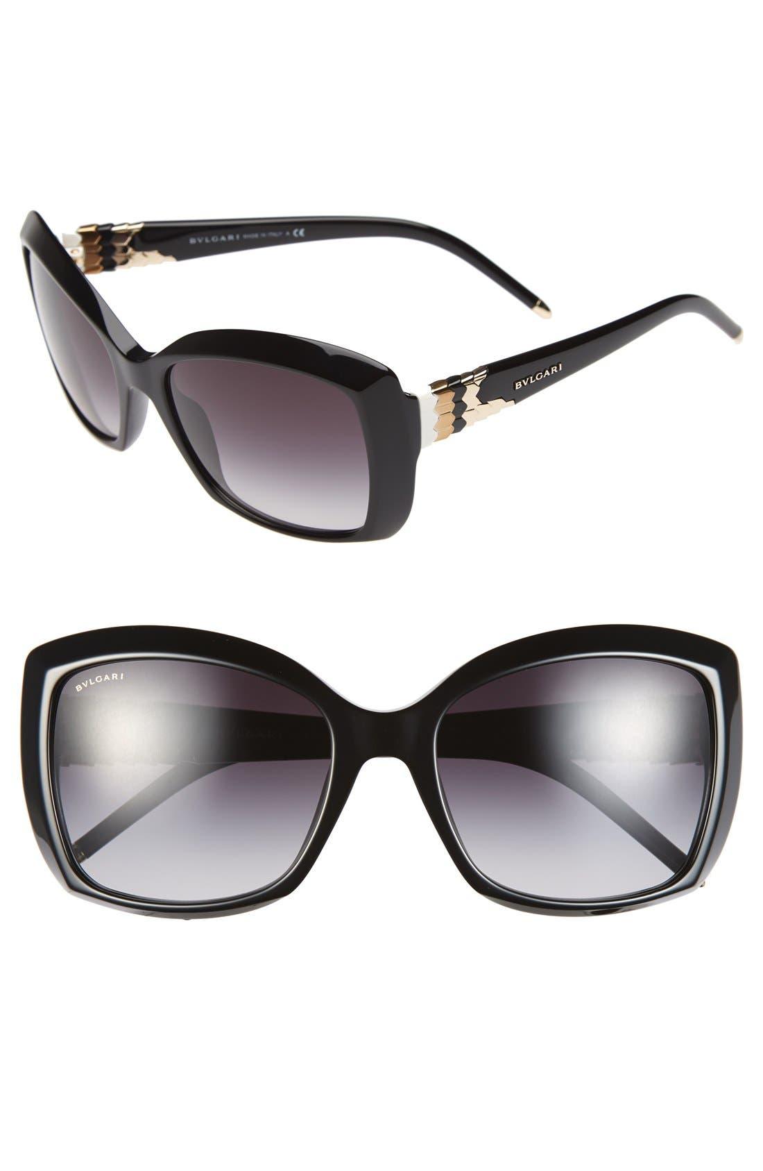 Alternate Image 1 Selected - BVLGARI 56mm Square Sunglasses