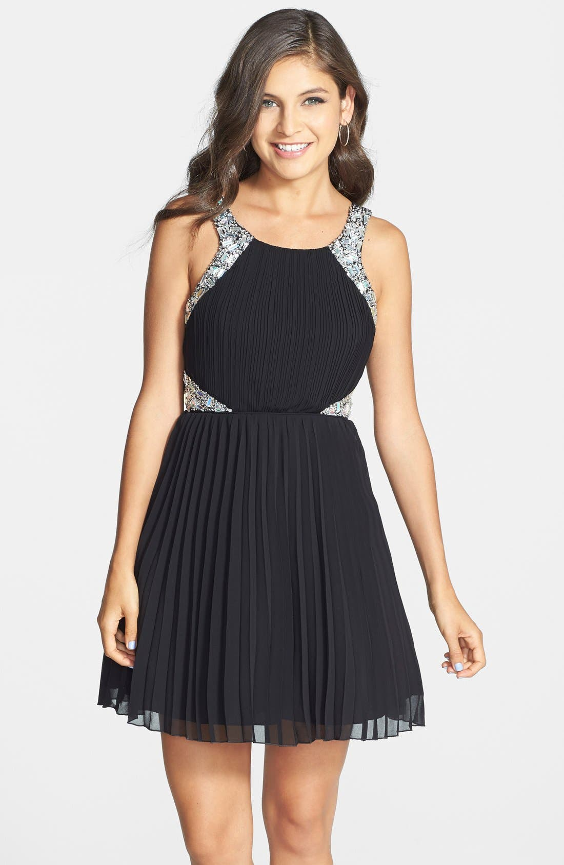 Main Image - Way-In Embellished Pleated Skater Dress (Juniors)