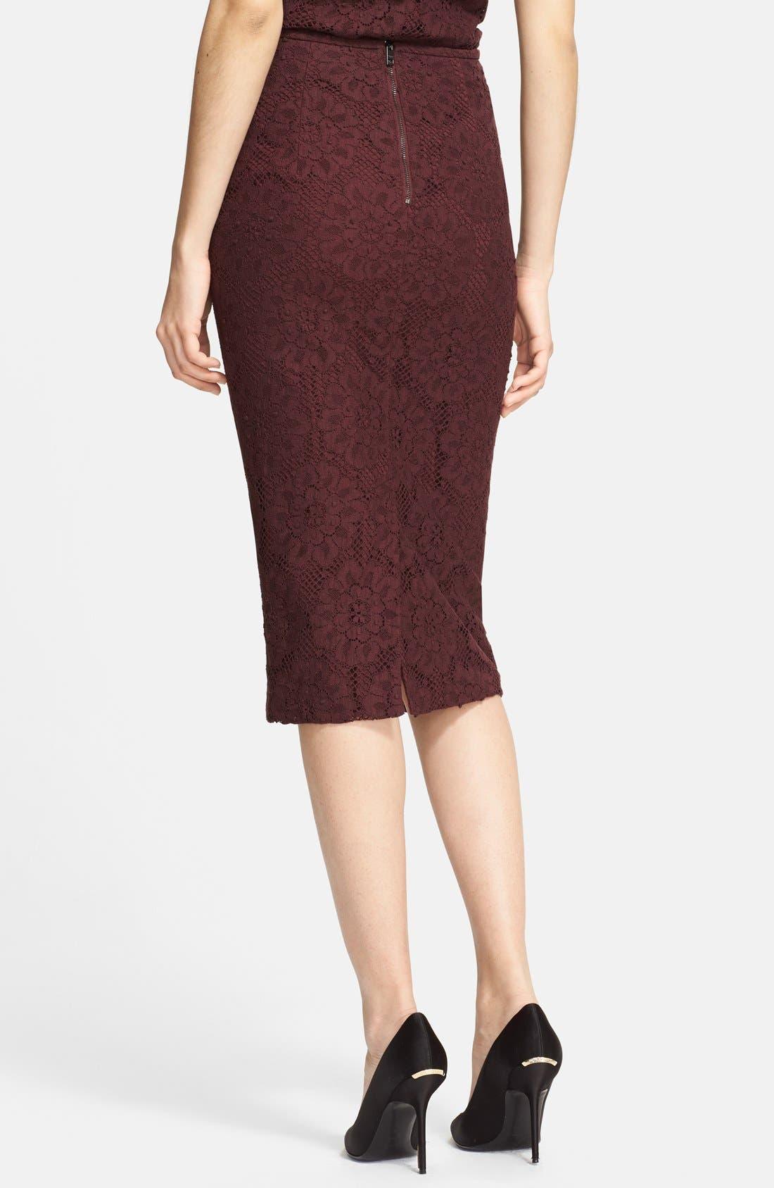 Alternate Image 2  - Burberry London Guipure Lace Pencil Skirt
