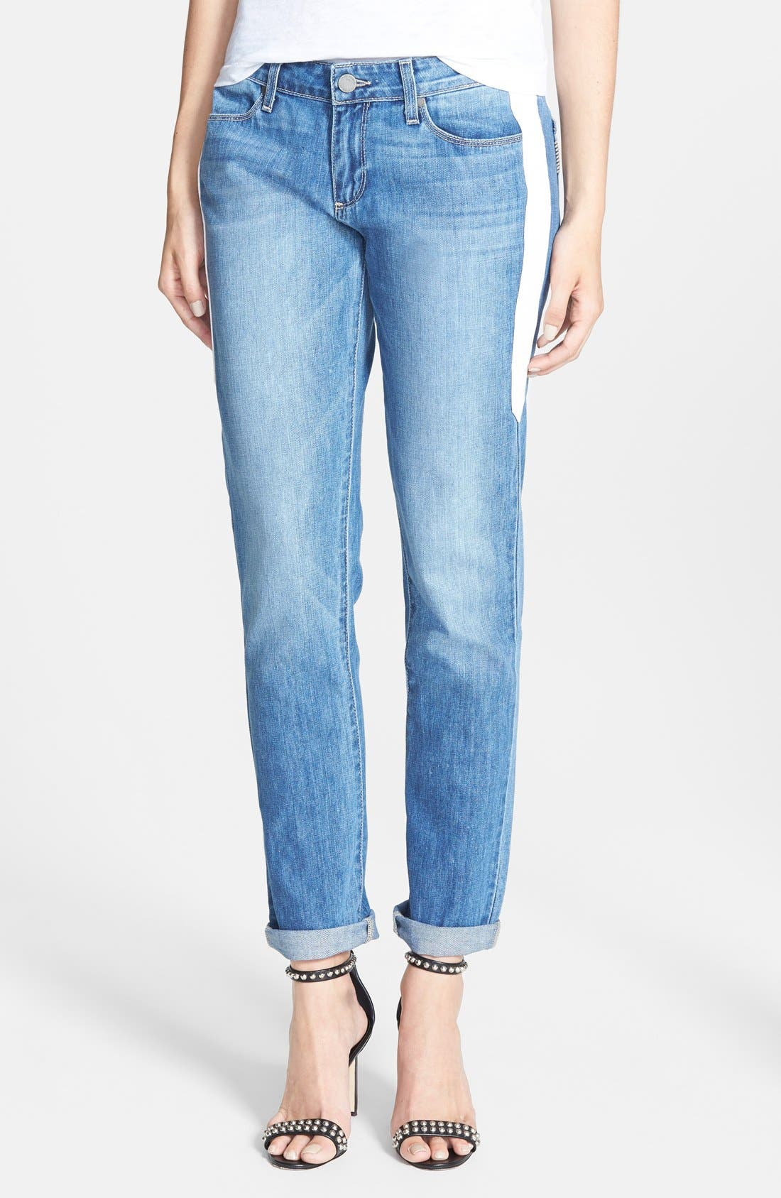 Main Image - Paige Denim 'Jimmy Jimmy' Leather Stripe Skinny Boyfriend Jeans (Indigo Dart)
