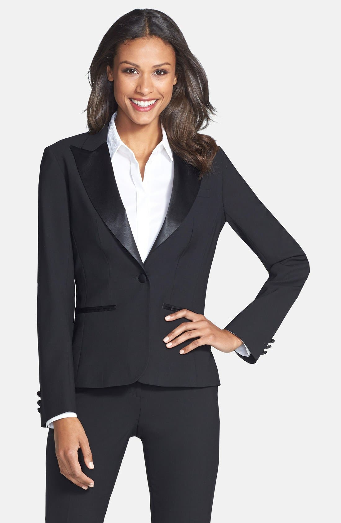 AFTER SIX Stretch Wool Tuxedo Jacket