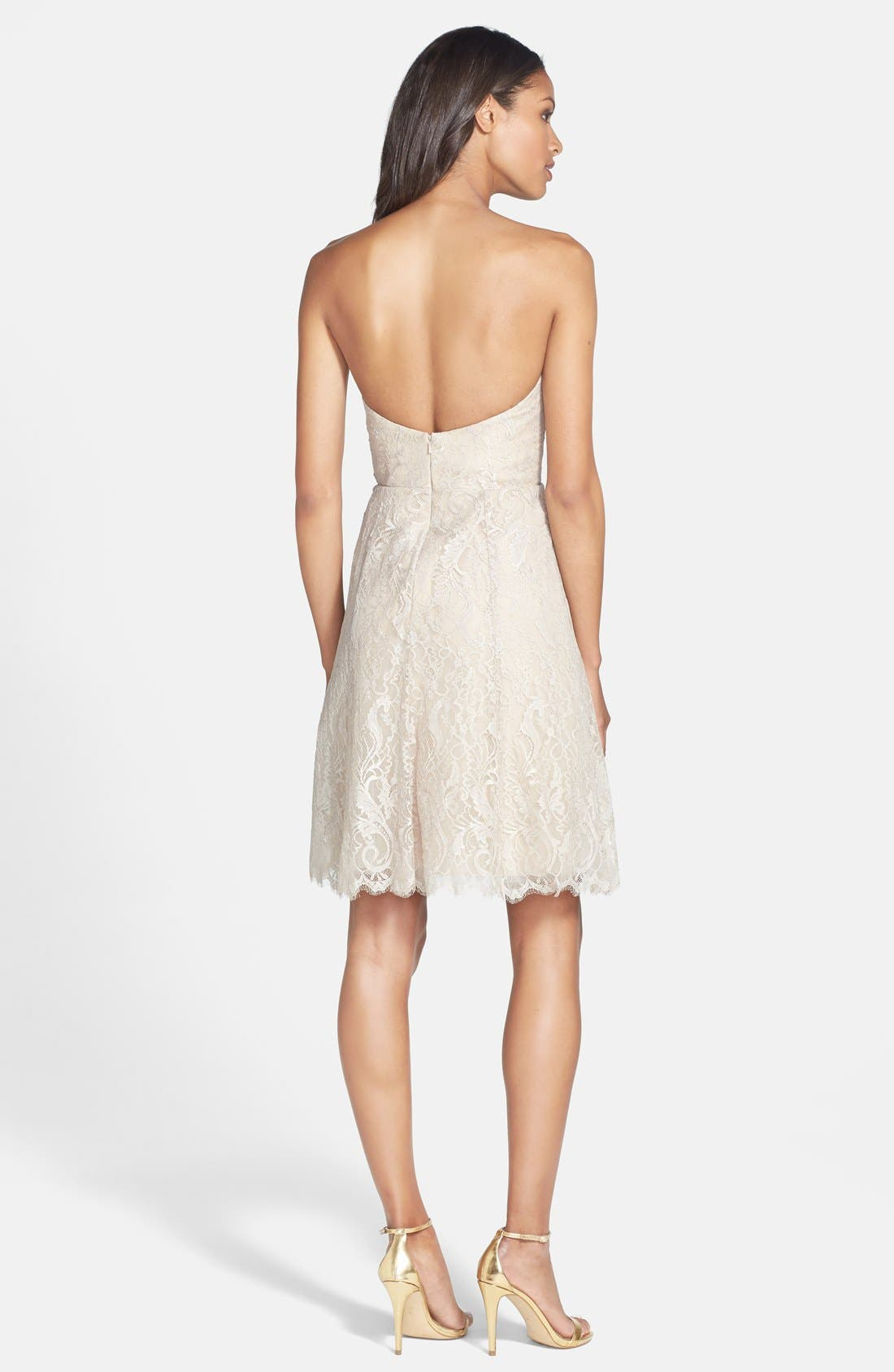 Alternate Image 2  - Jim Hjelm Occasions Strapless Lace A-Line Dress