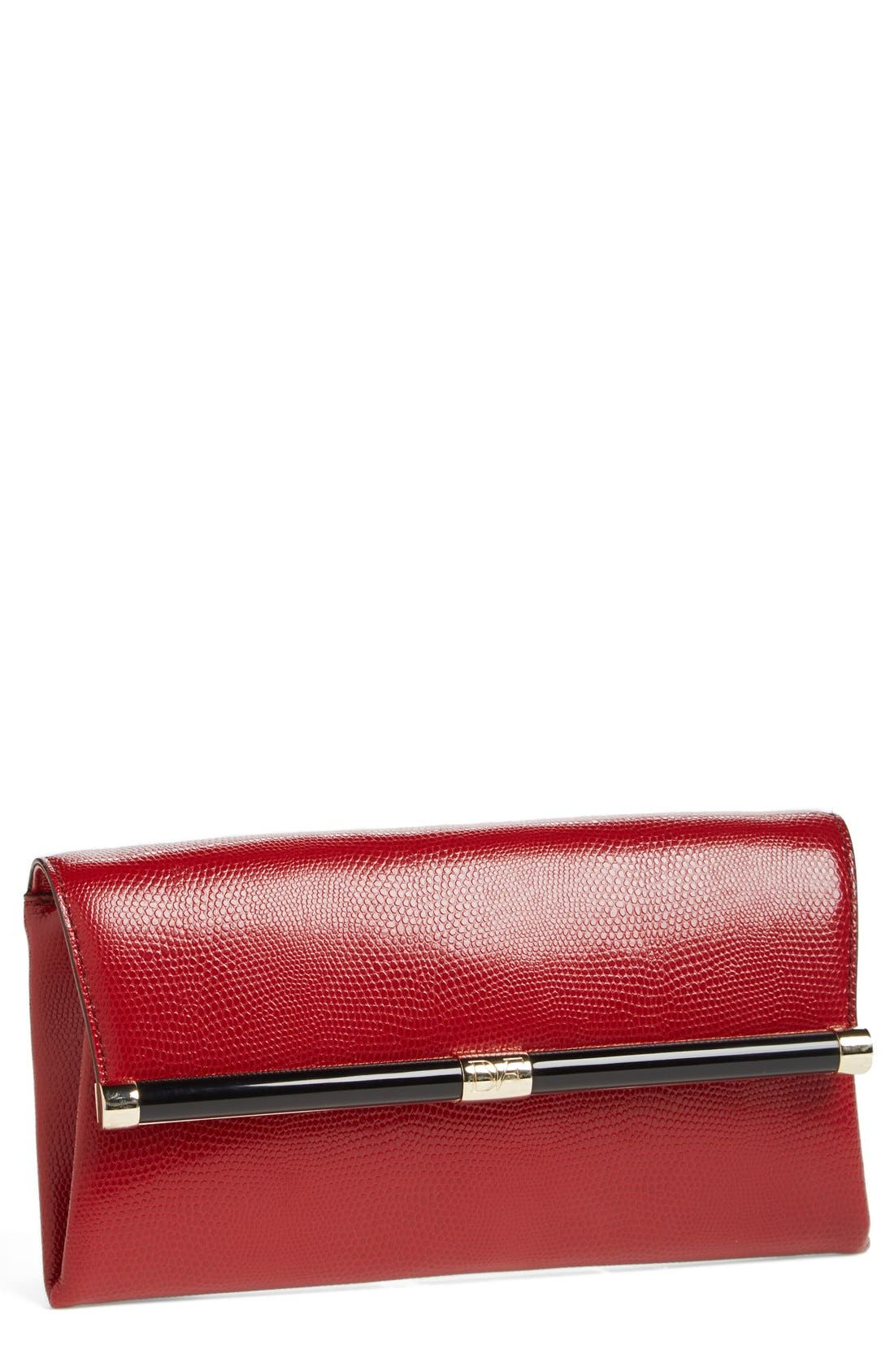Main Image - Diane von Furstenberg '440' Embossed Leather Envelope Clutch