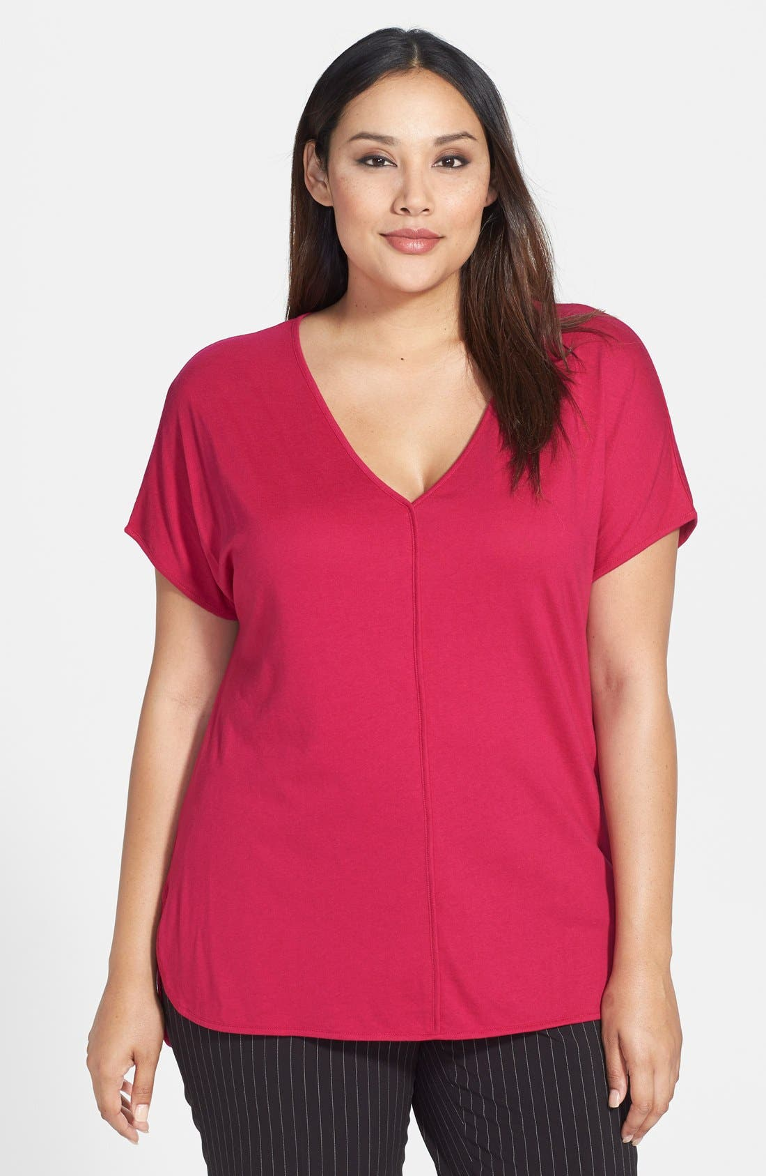 Alternate Image 1 Selected - MICHAEL Michael Kors Short Sleeve V-Neck Top (Plus Size)