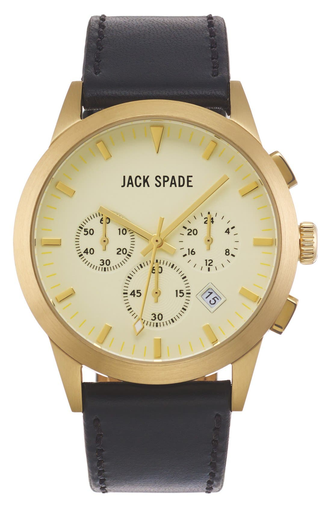Main Image - Jack Spade 'Bailey' Chronograph Leather Strap Watch, 42mm