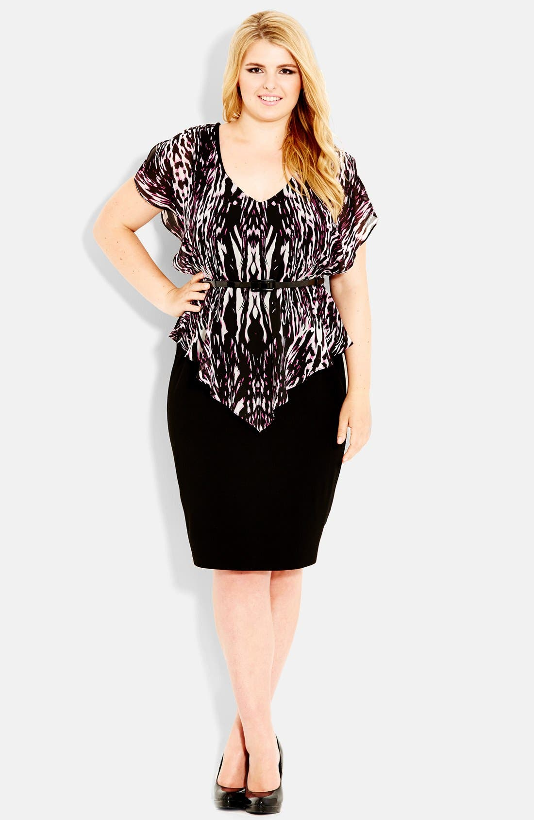 Alternate Image 1 Selected - City Chic 'Animal Flutter' Belted Dress (Plus Size)