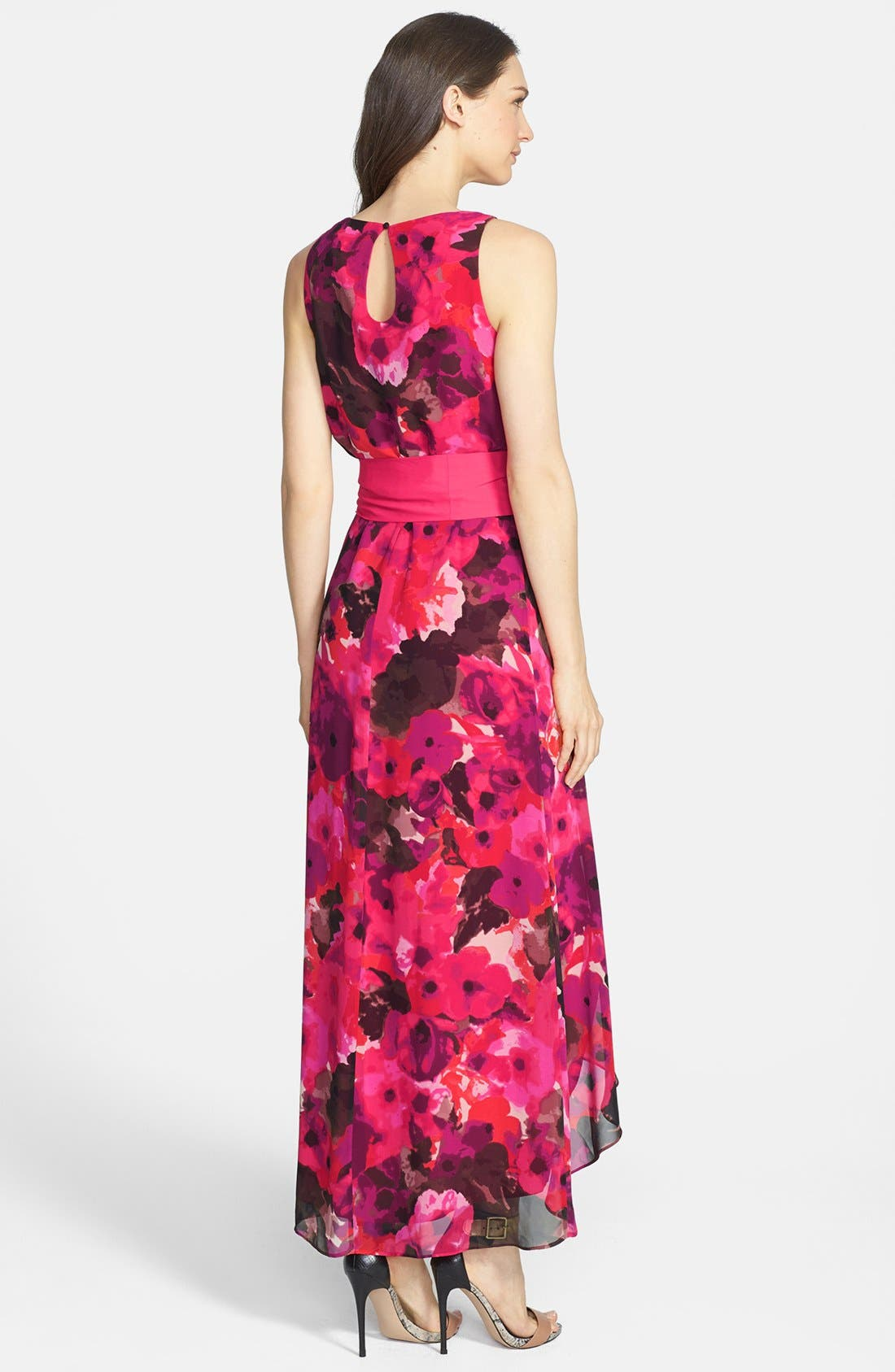 Alternate Image 2  - Eliza J Print High/Low Chiffon Dress