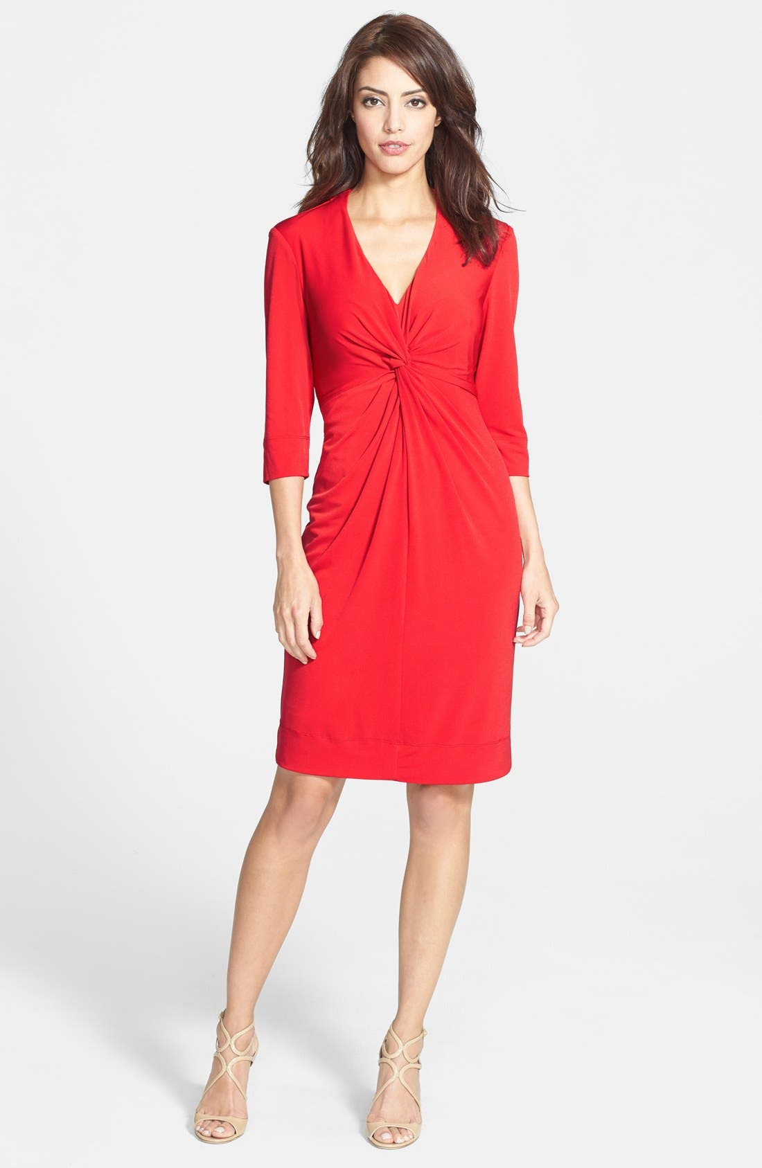 Alternate Image 3  - Donna Ricco Twist Front Jersey Sheath Dress