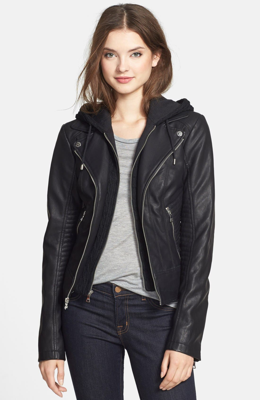 Alternate Image 1 Selected - GUESS Faux Leather Moto Jacket with Cable Knit Hooded Bib Inset (Online Only)