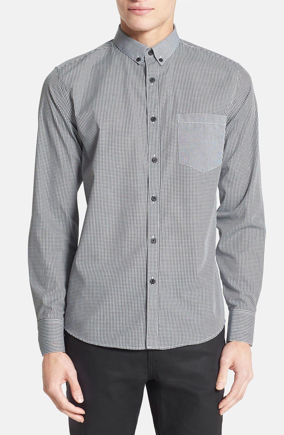 Alternate Image 1 Selected - Topman Slim Fit Mixed Gingham Dress Shirt