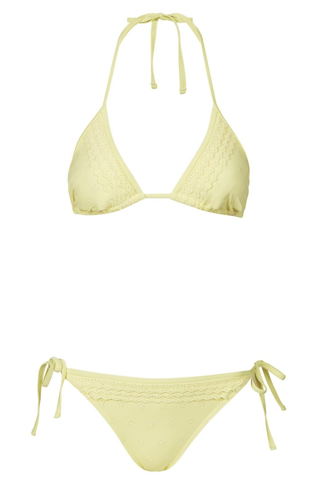 Main Image - Topshop 'Broderie Frill' Eyelet Bikini