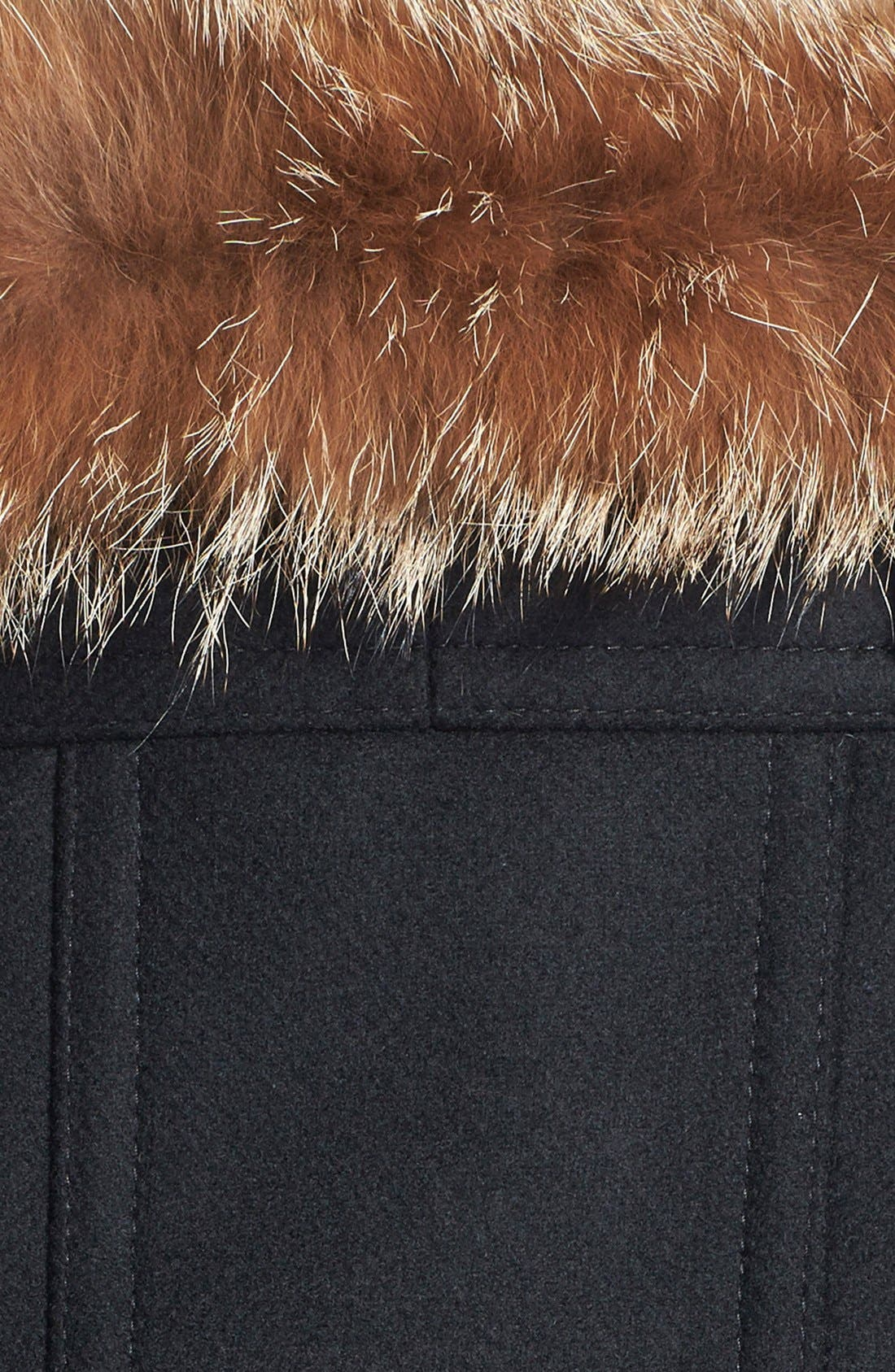 Alternate Image 3  - Trina Turk Genuine Coyote Fur Trim Wool Blend Duffle Coat