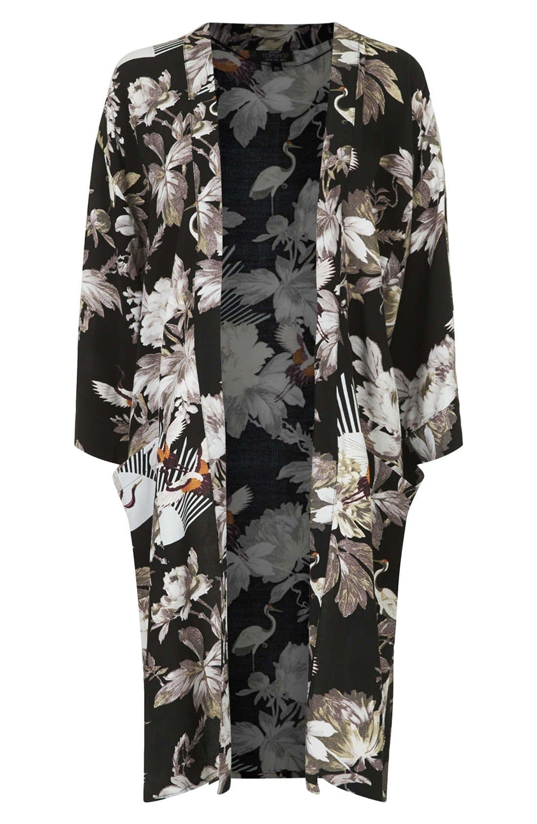 Main Image - Topshop Fantasy Print Longline Maternity Kimono