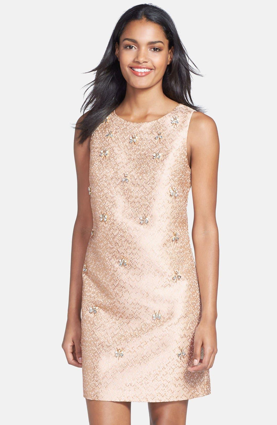 Alternate Image 1 Selected - Eliza J Embellished Jacquard Shift Dress