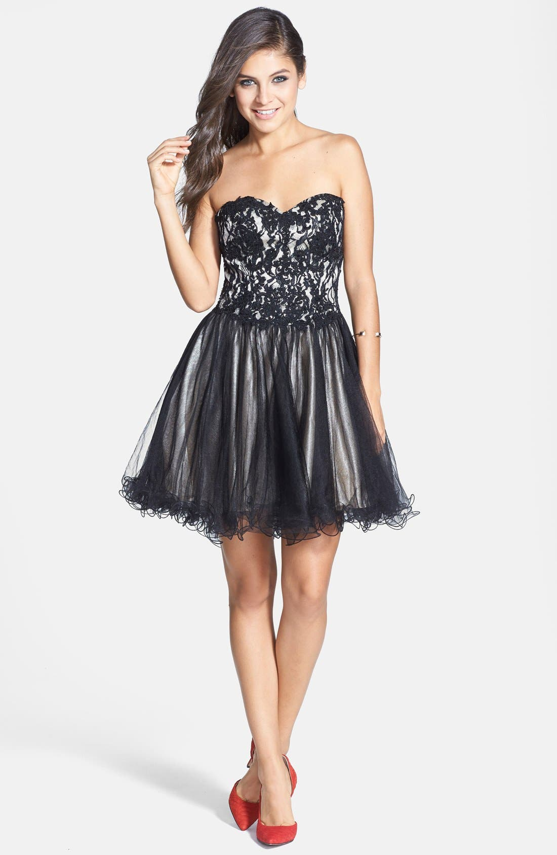 Alternate Image 3  - Sean Collection Lace Bodice Corset Fit & Flare Dress