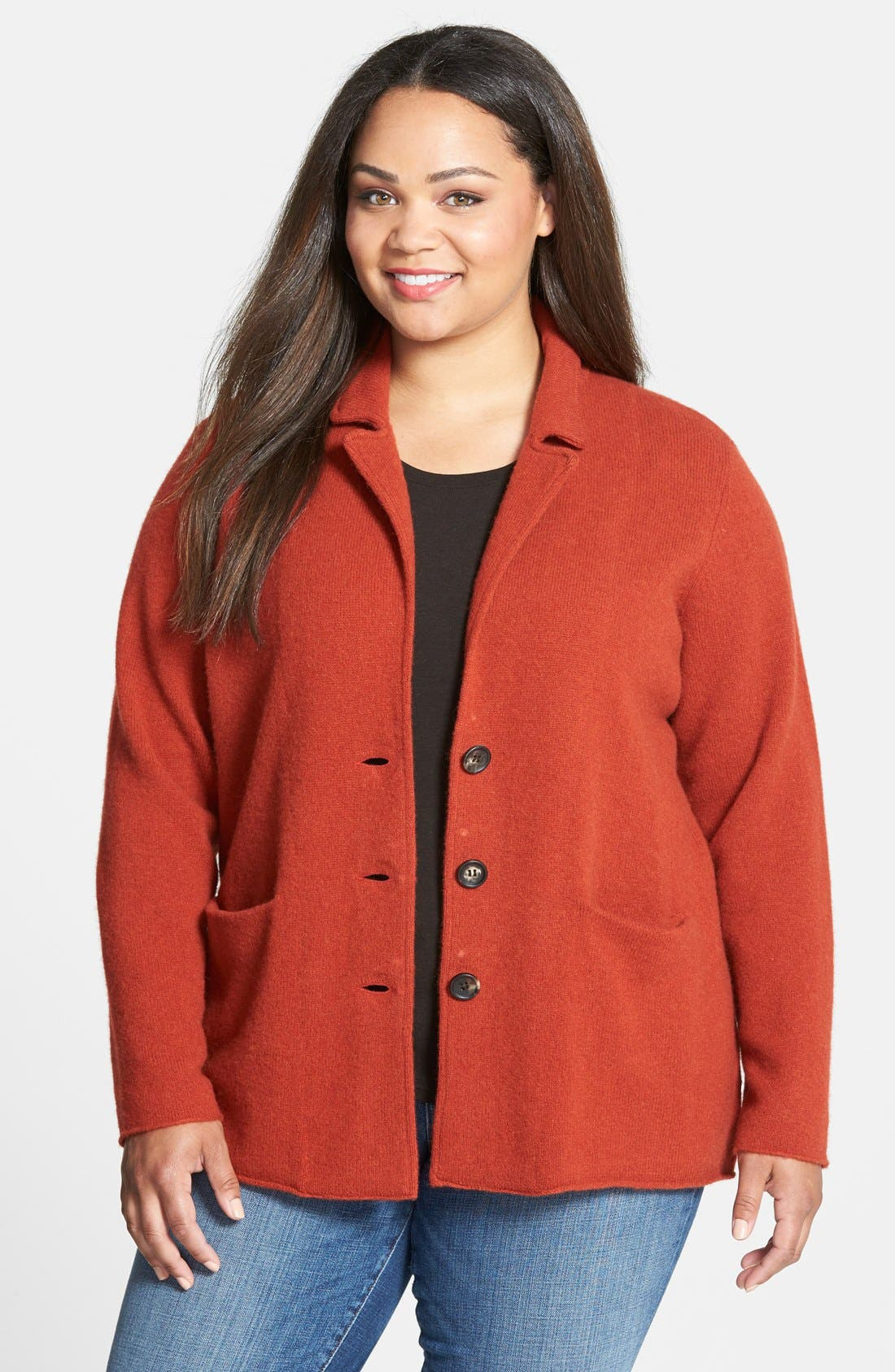 Alternate Image 1 Selected - Eileen Fisher Collar Wool Sweater Jacket (Plus Size)