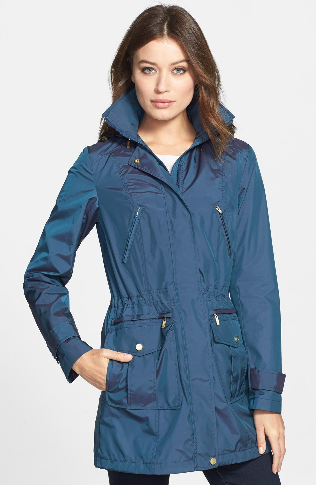 Main Image - Cole Haan Packable Raincoat with Detachable Hood