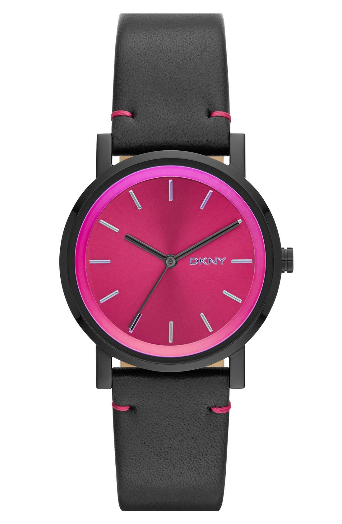 Alternate Image 1 Selected - DKNY 'Soho' Holograph Leather Strap Watch