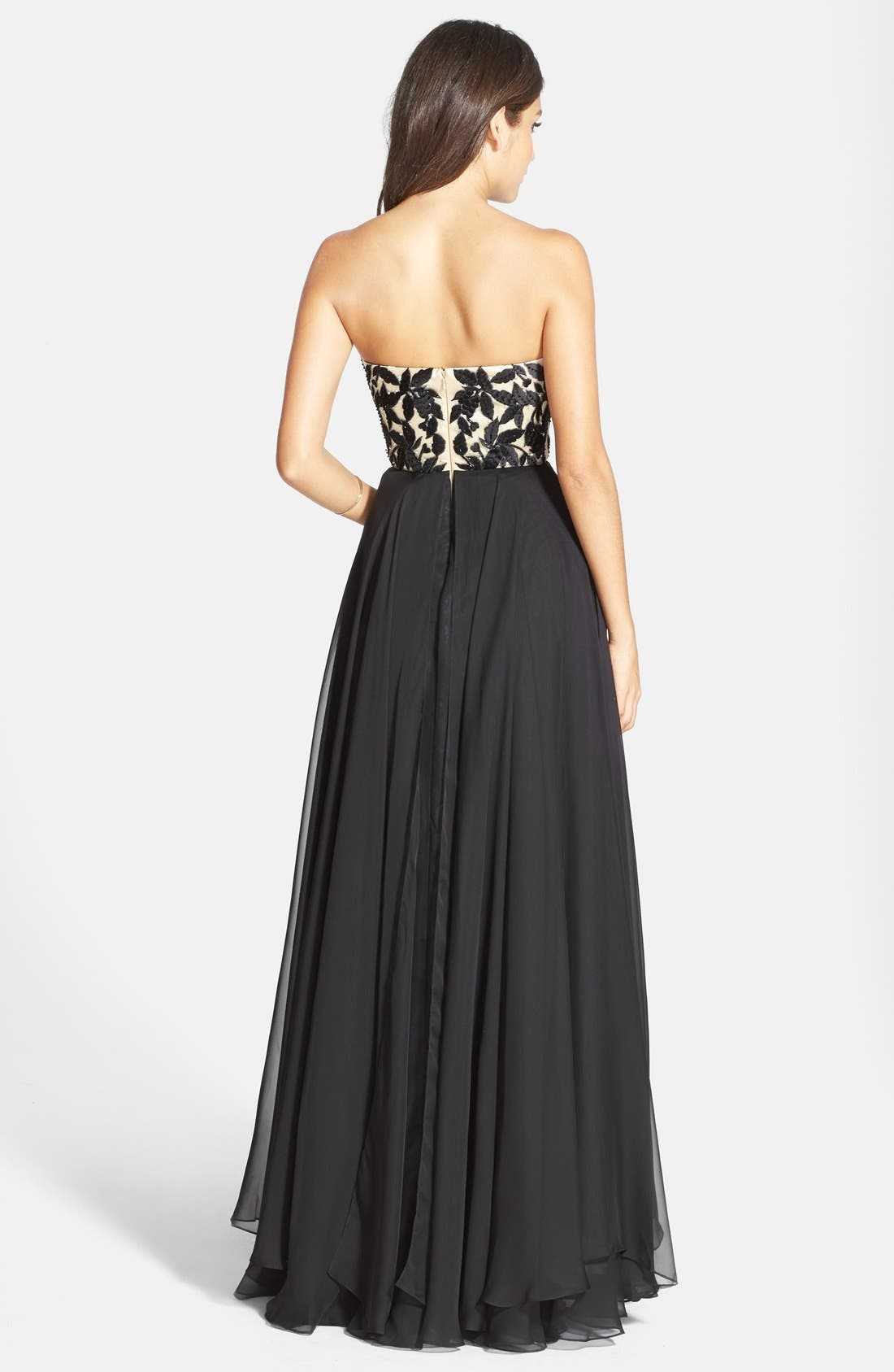 Alternate Image 2  - Sherri Hill Embroidered Bodice Strapless Chiffon Gown