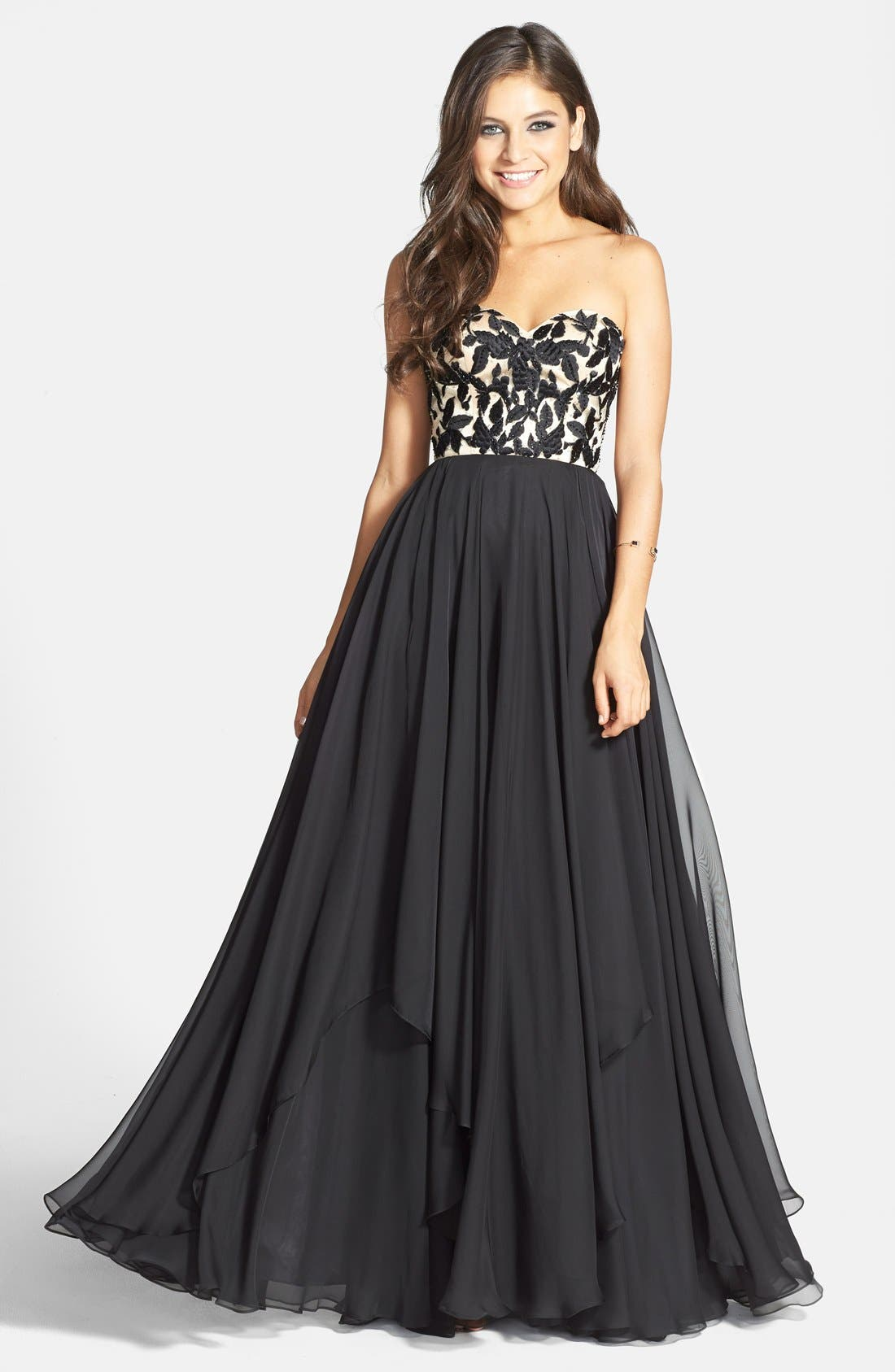 Main Image - Sherri Hill Embroidered Bodice Strapless Chiffon Gown