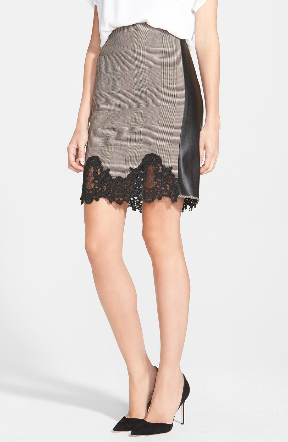 Main Image - Adrianna Papell Lace & Faux Leather Trim Plaid Pencil Skirt