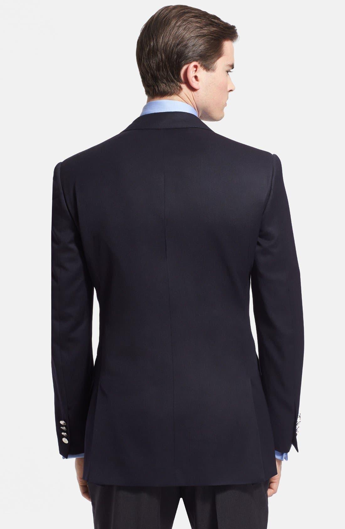 Alternate Image 2  - Ralph Lauren Black Label Trim Fit Navy Wool Sport Coat
