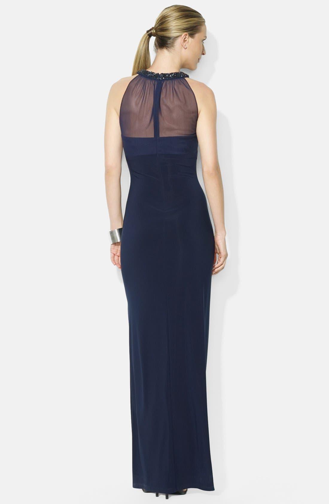 Alternate Image 2  - Lauren Ralph Lauren Side Slit Beaded Matte Jersey Empire Gown