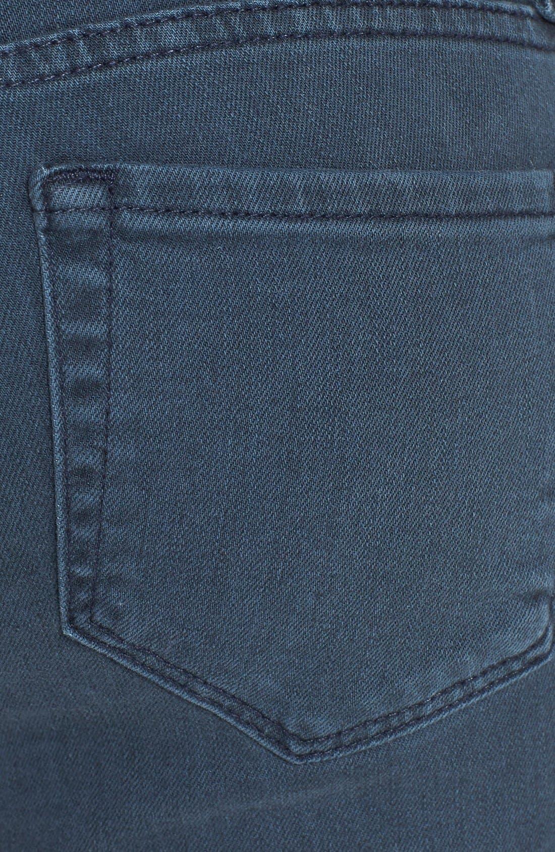 Alternate Image 3  - Velvet by Graham & Spencer Low Rise Skinny Jeans (Petrol)