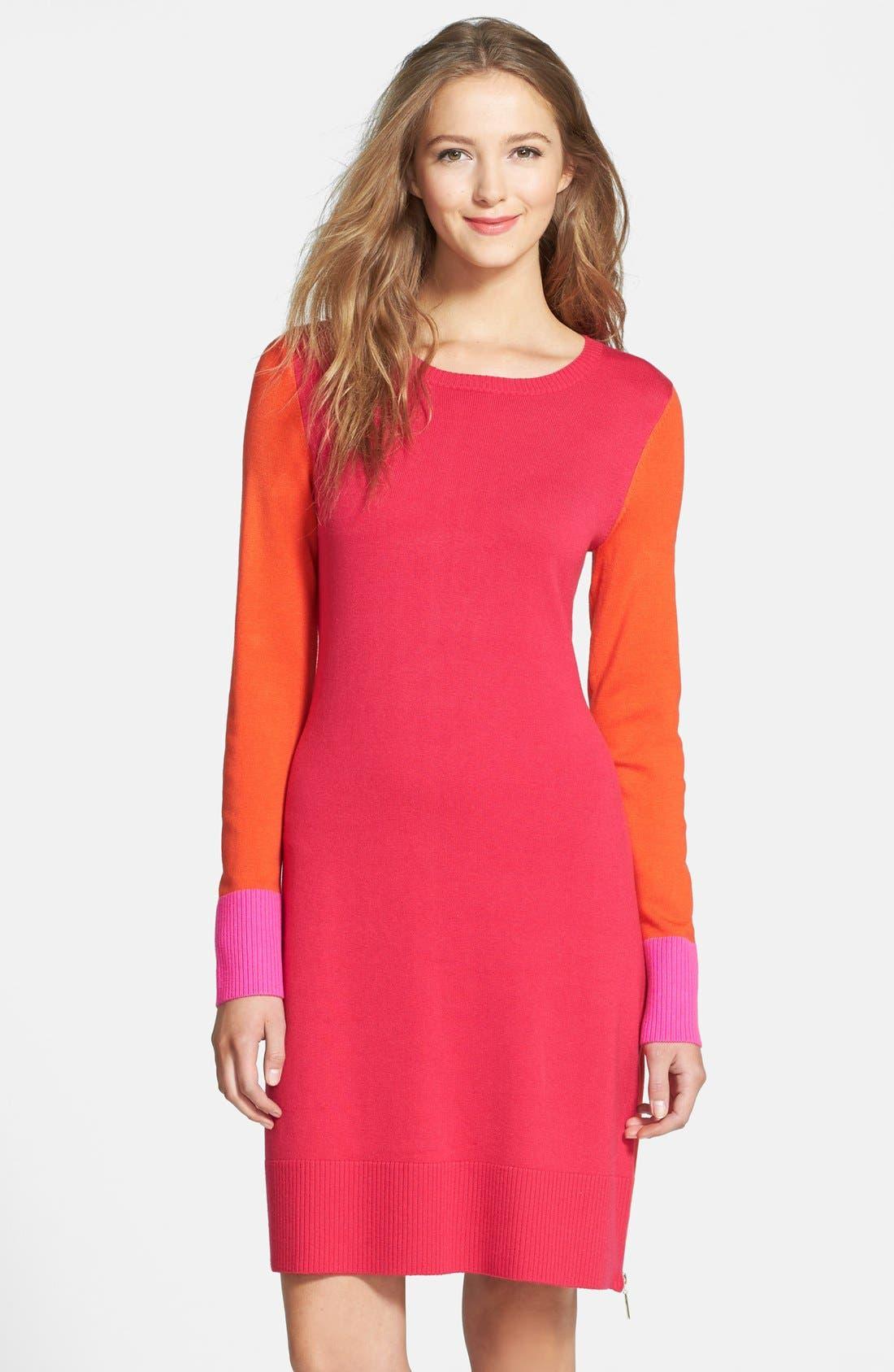 Alternate Image 1 Selected - Eliza J Colorblock Long Sleeve Sweater Dress (Regular & Petite)