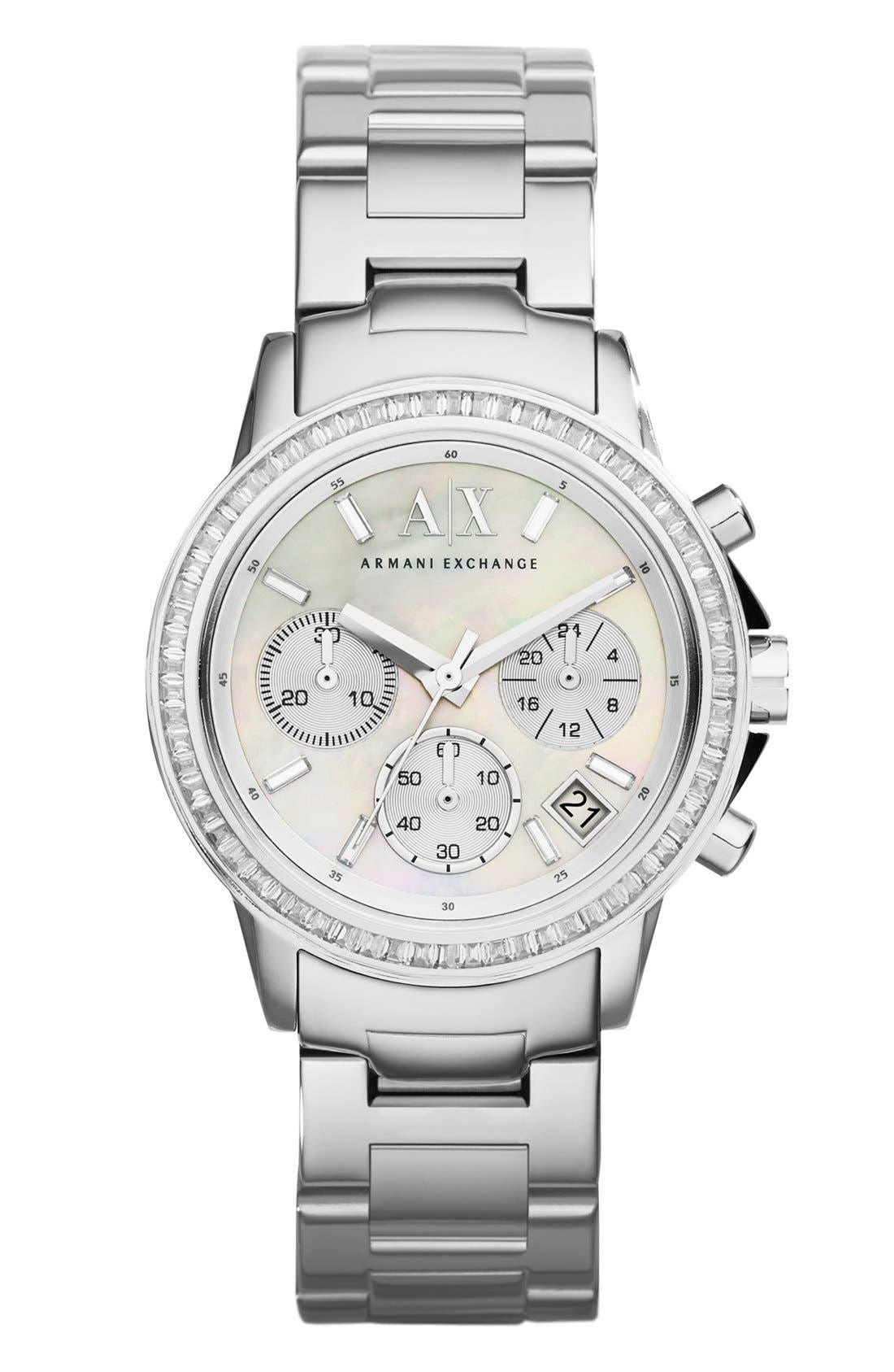 Main Image - AX Armani Exchange Crystal Bezel Chronograph Bracelet Watch, 35mm