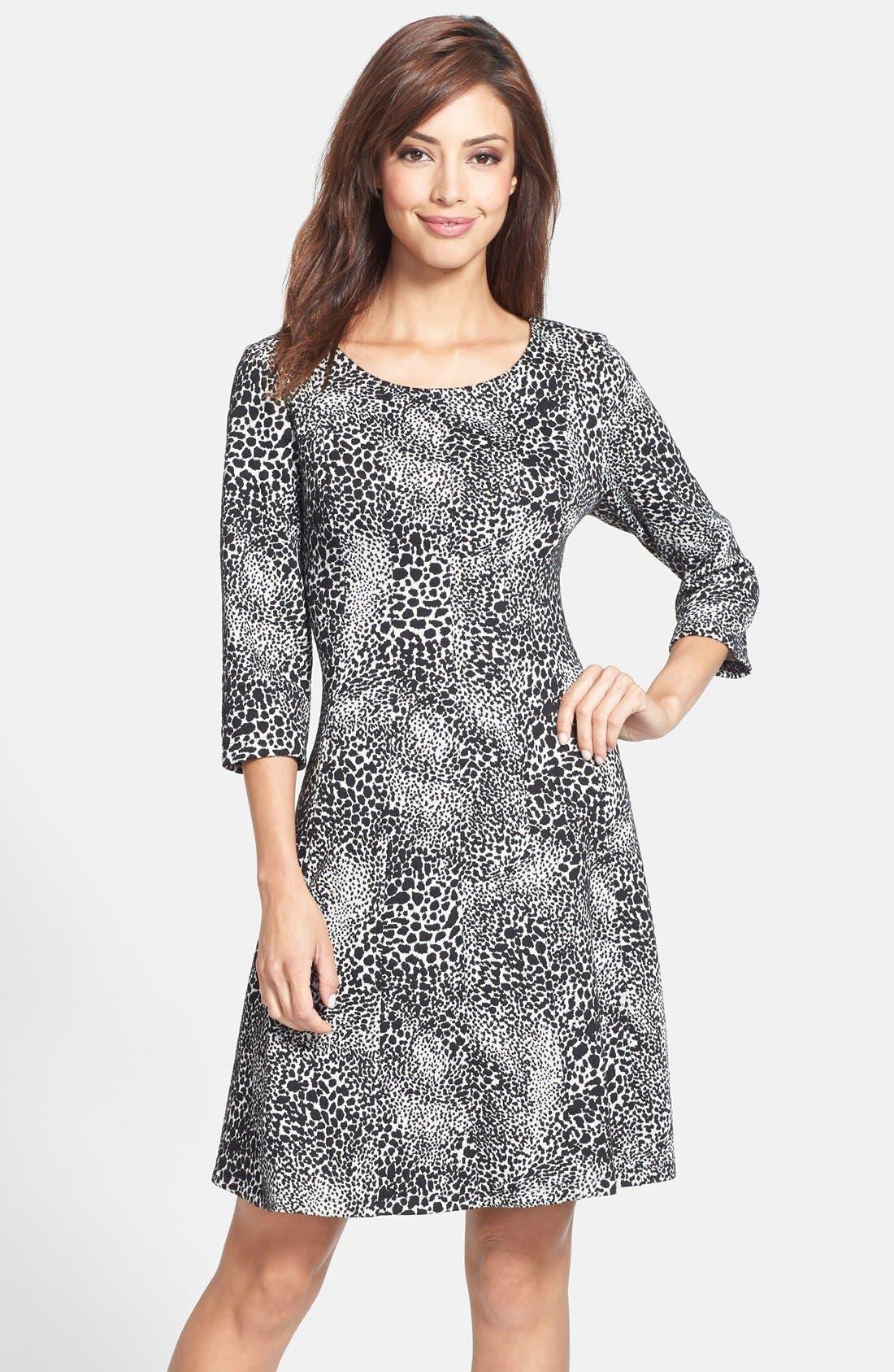 Main Image - Taylor Dresses Jacquard Knit Fit & Flare Dress (Regular & Petite)