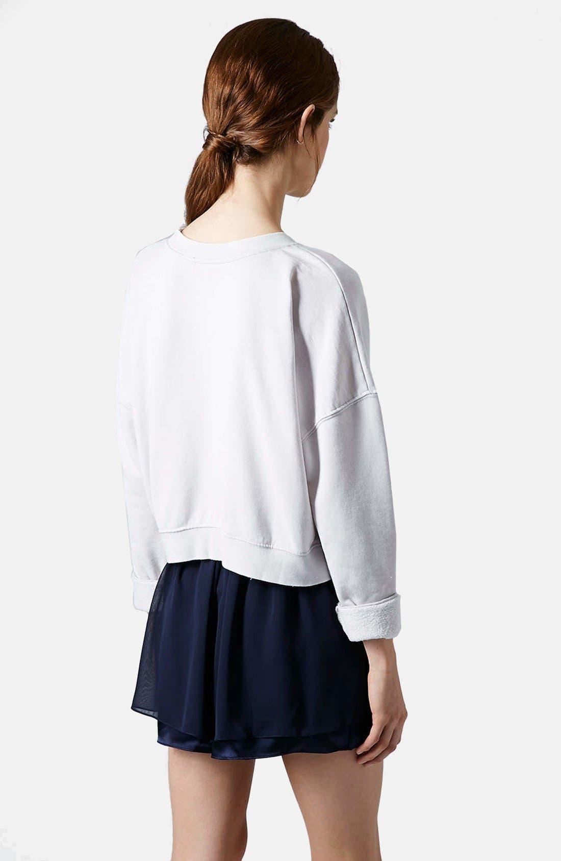 Alternate Image 2  - Topshop Long Sleeve Burnout Sweater