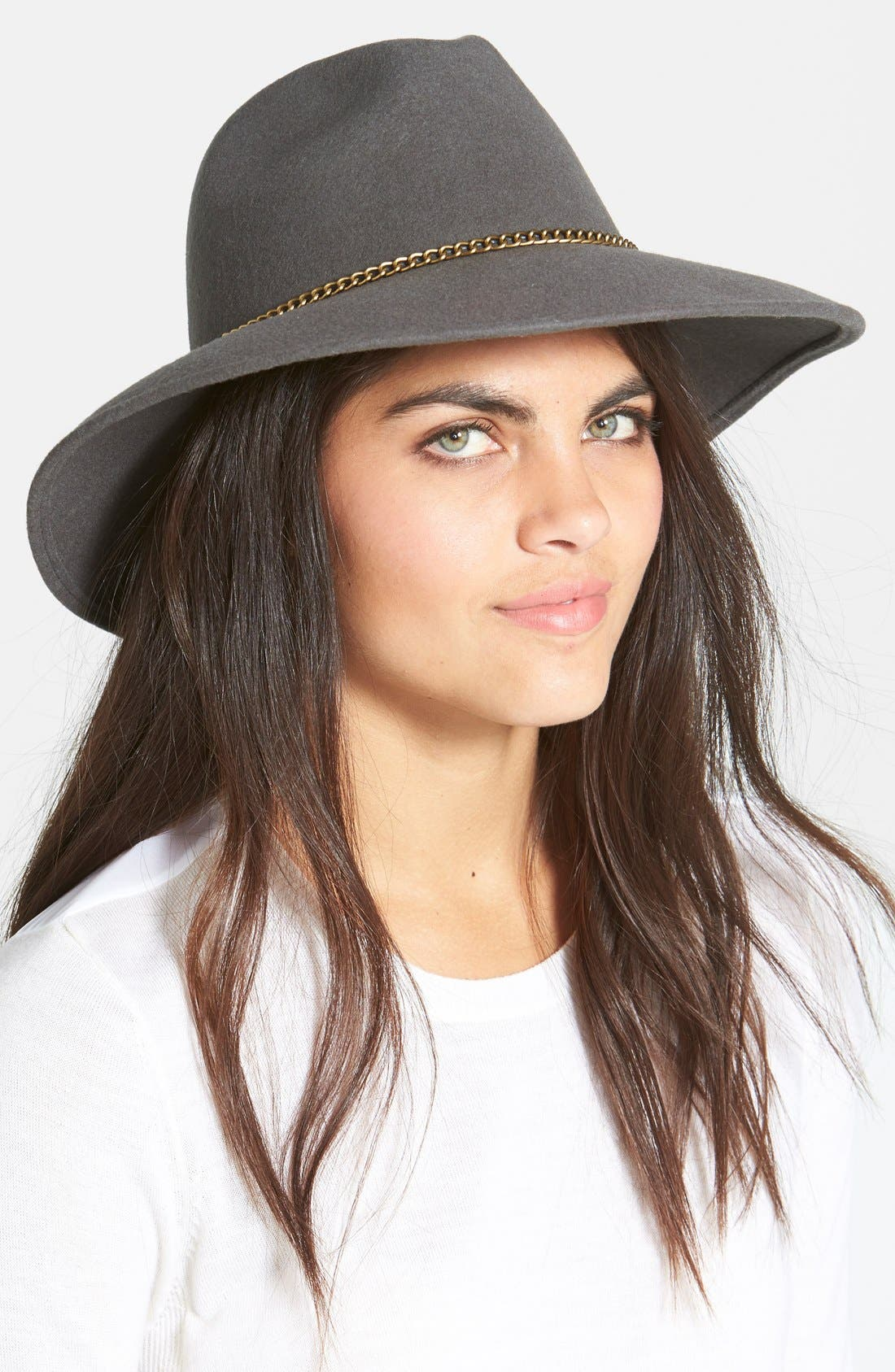 Alternate Image 1 Selected - Nordstrom Chain Trim Wool Fedora
