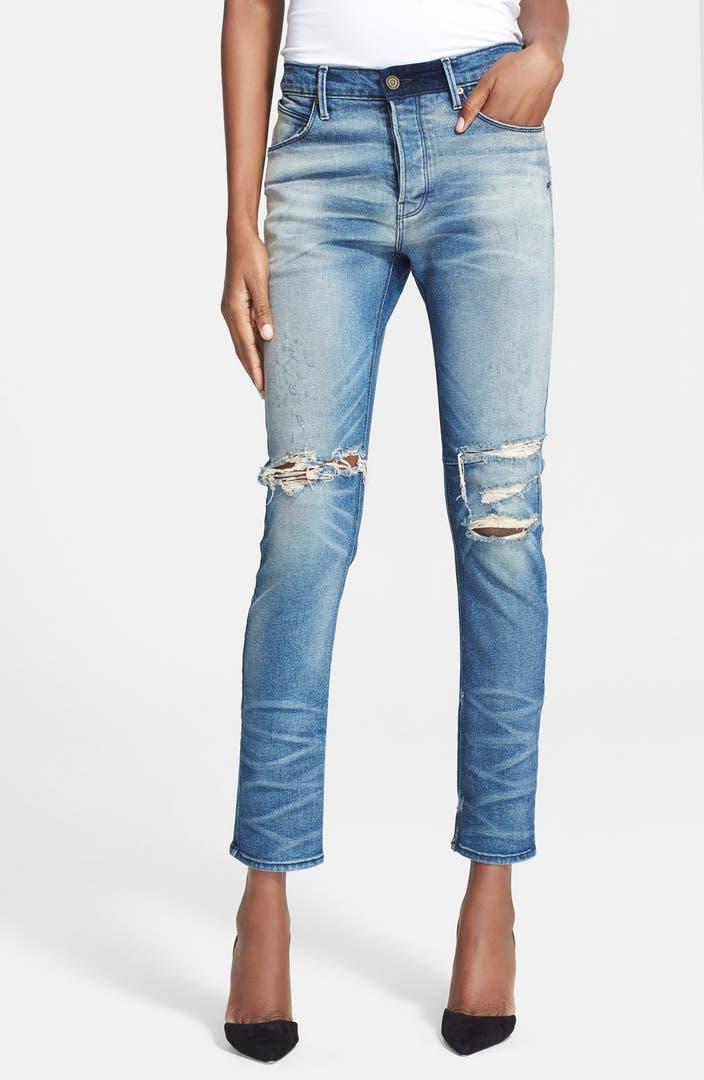 rta destroyed boyfriend jeans exploded blue nordstrom. Black Bedroom Furniture Sets. Home Design Ideas