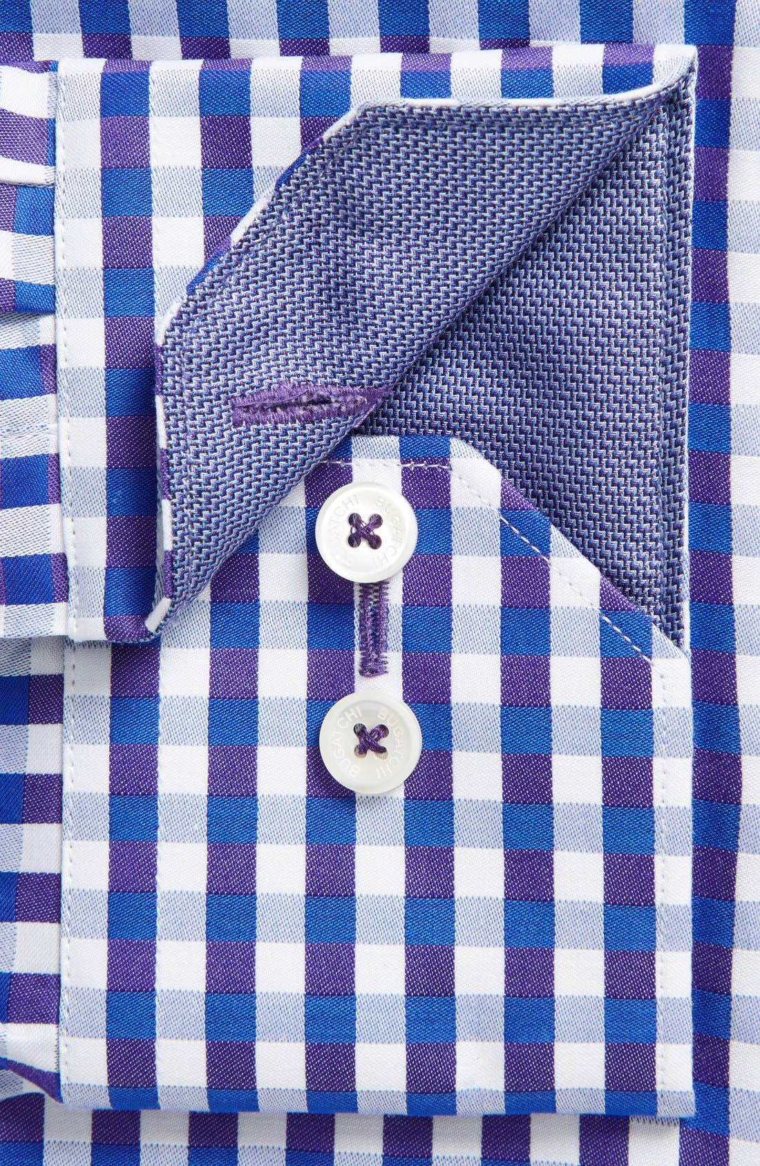 Alternate Image 4  - Bugatchi Classic Fit Plaid Sport Shirt (Tall)