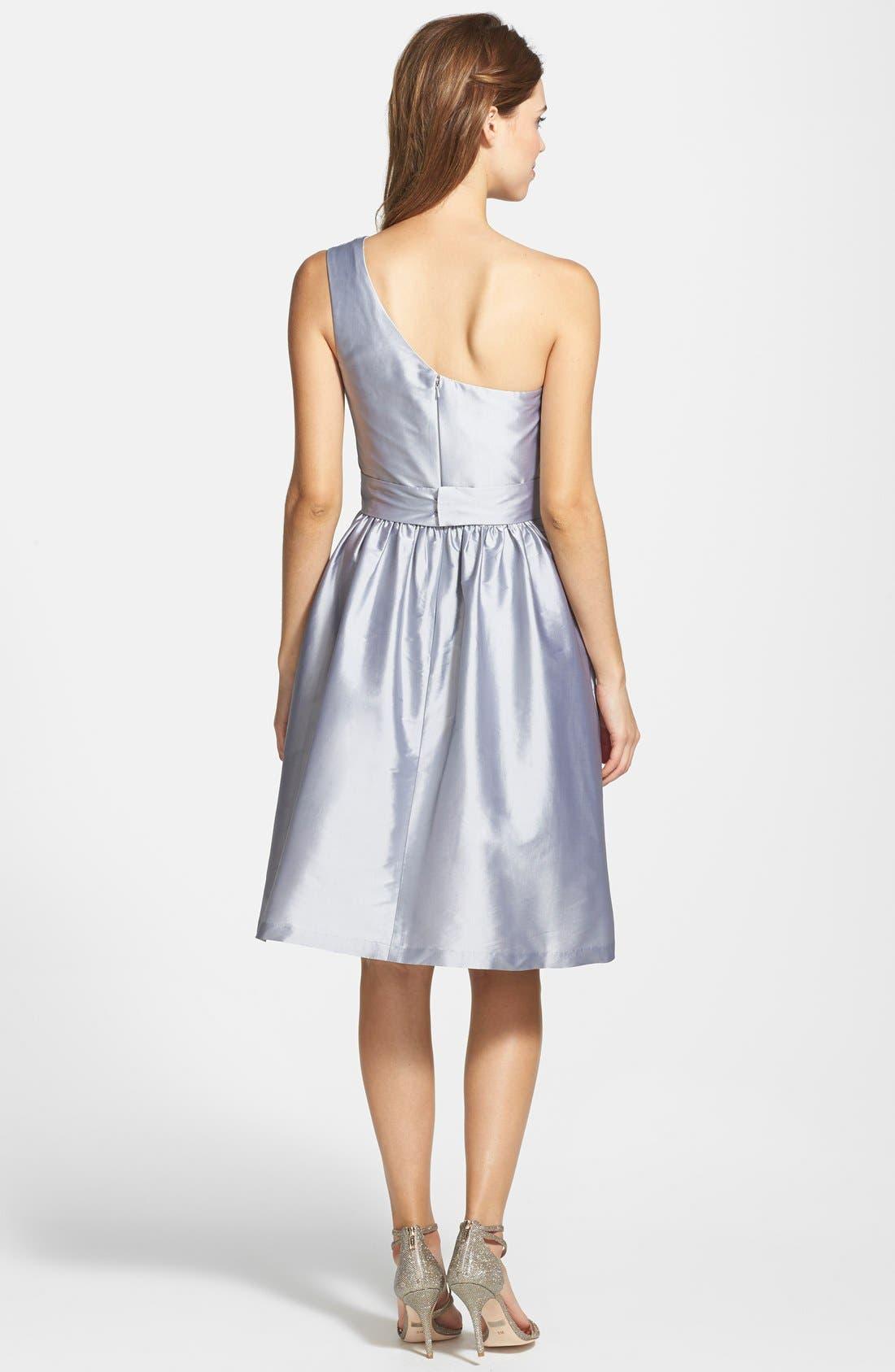 Alternate Image 2  - Alfred Sung One-Shoulder Satin Fit & Flare Dress