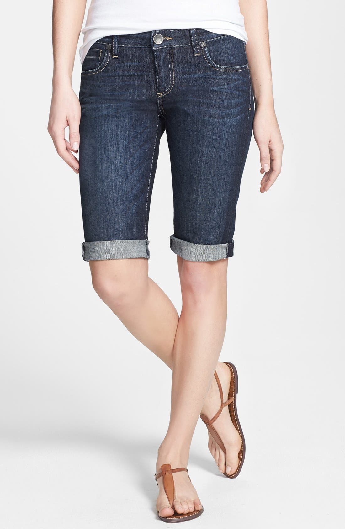 Alternate Image 1 Selected - KUT from The Kloth Roll-Up Denim Bermuda Shorts (Wise) (Regular & Petite)