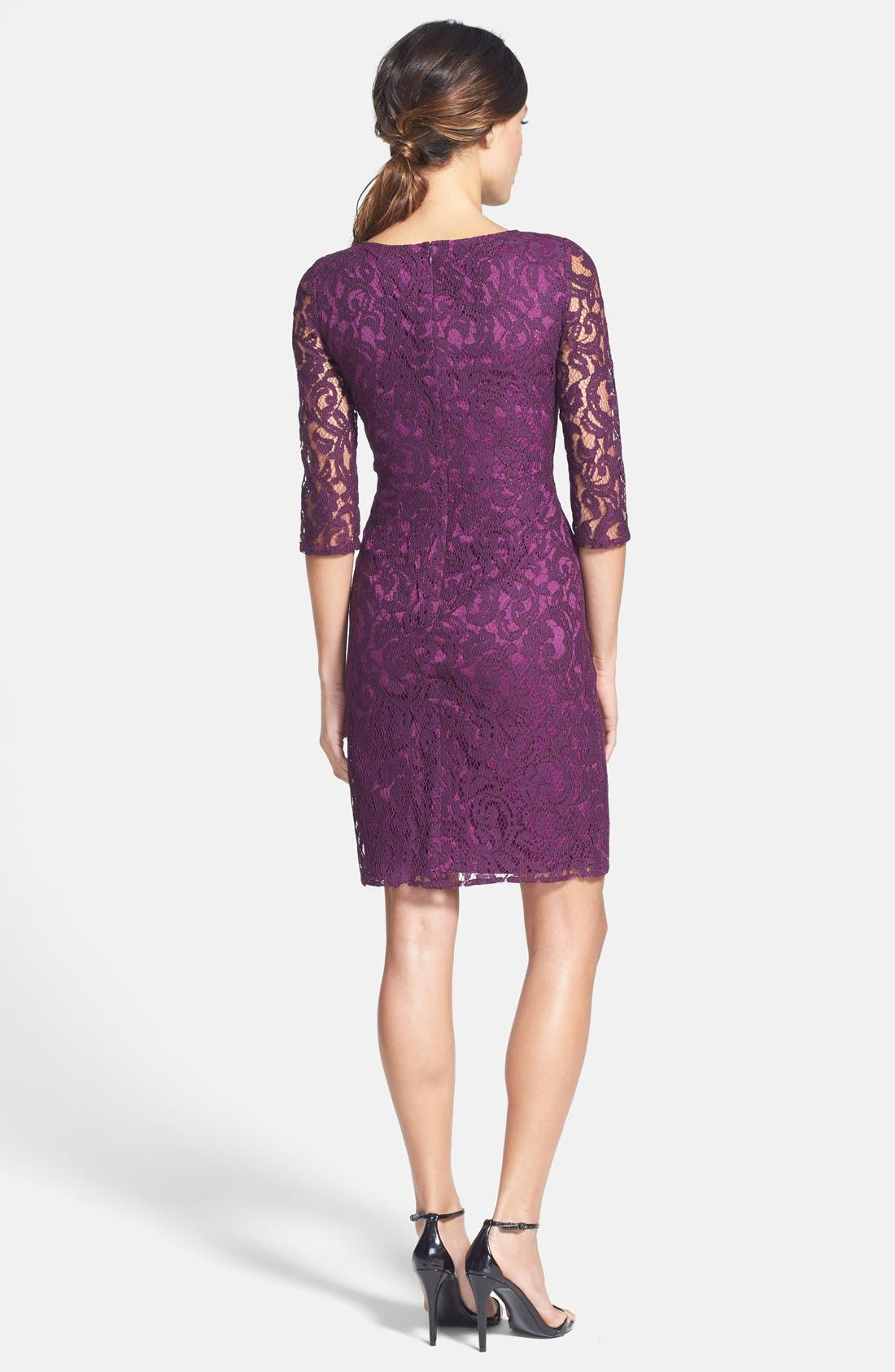 Alternate Image 2  - Adrianna Papell Zip Detail Ruched Lace Sheath Dress