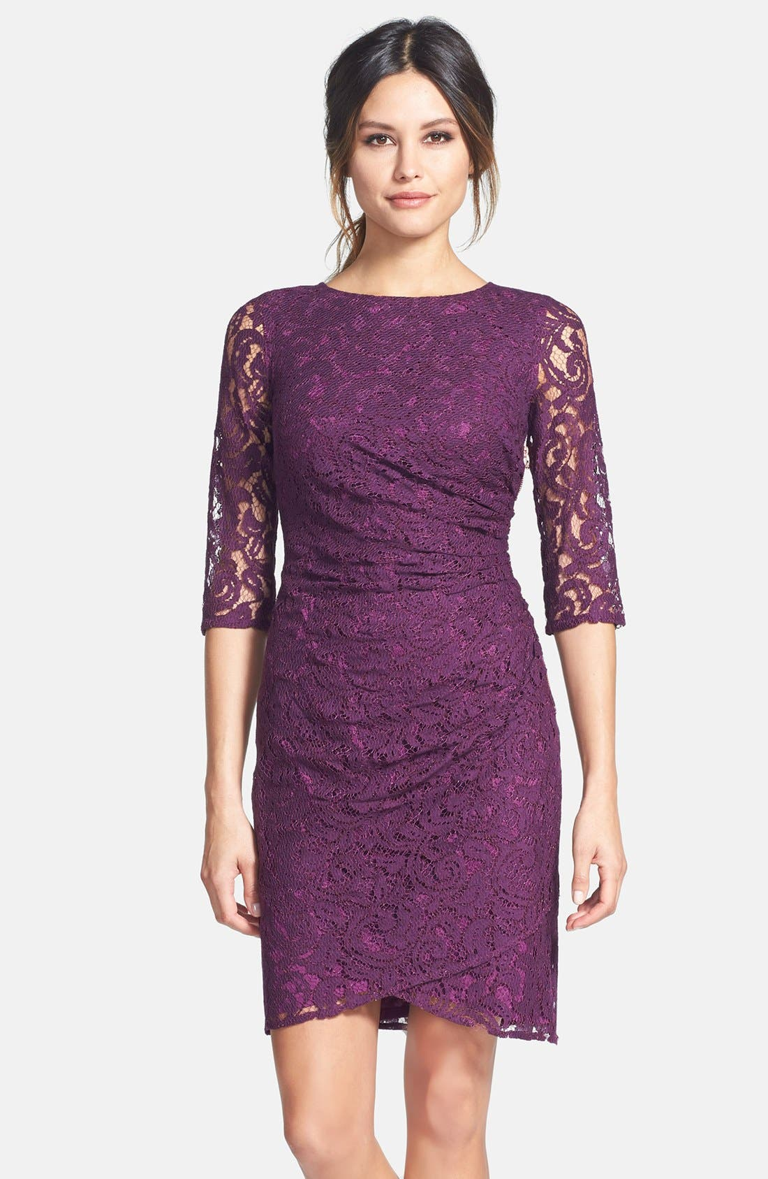 Alternate Image 1 Selected - Adrianna Papell Zip Detail Ruched Lace Sheath Dress