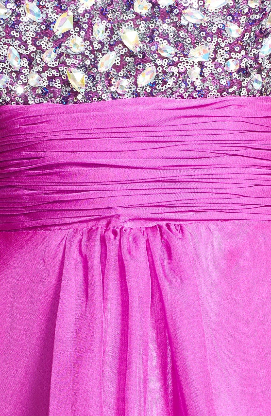 Alternate Image 4  - Faviana Embellished Strapless Chiffon Fit & Flare Dress