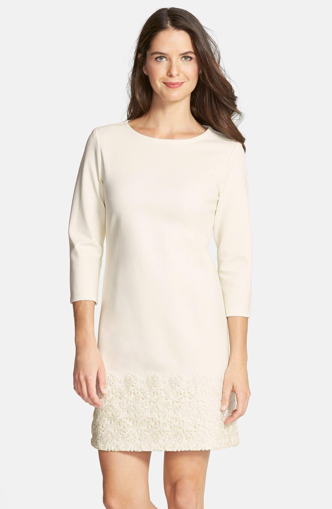 Main Image - Taylor Dresses Ponte & Lace Shift Dress