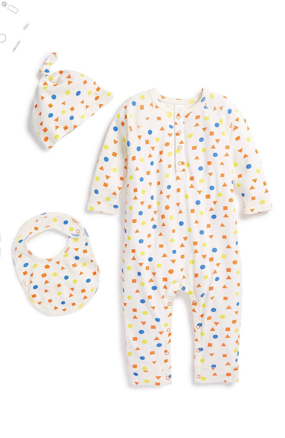 Main Image - Stem Baby Organic Cotton Romper, Cap & Bib (Baby Girls)