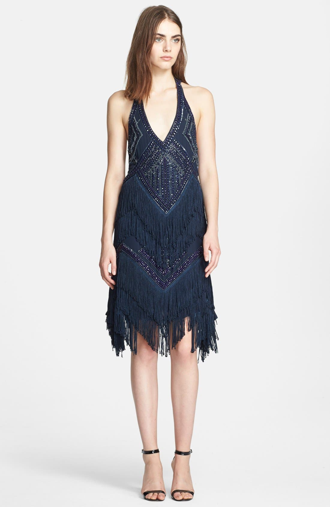 Main Image - Haute Hippie Bead Embellished T-Back Silk Dress with Fringe Skirt