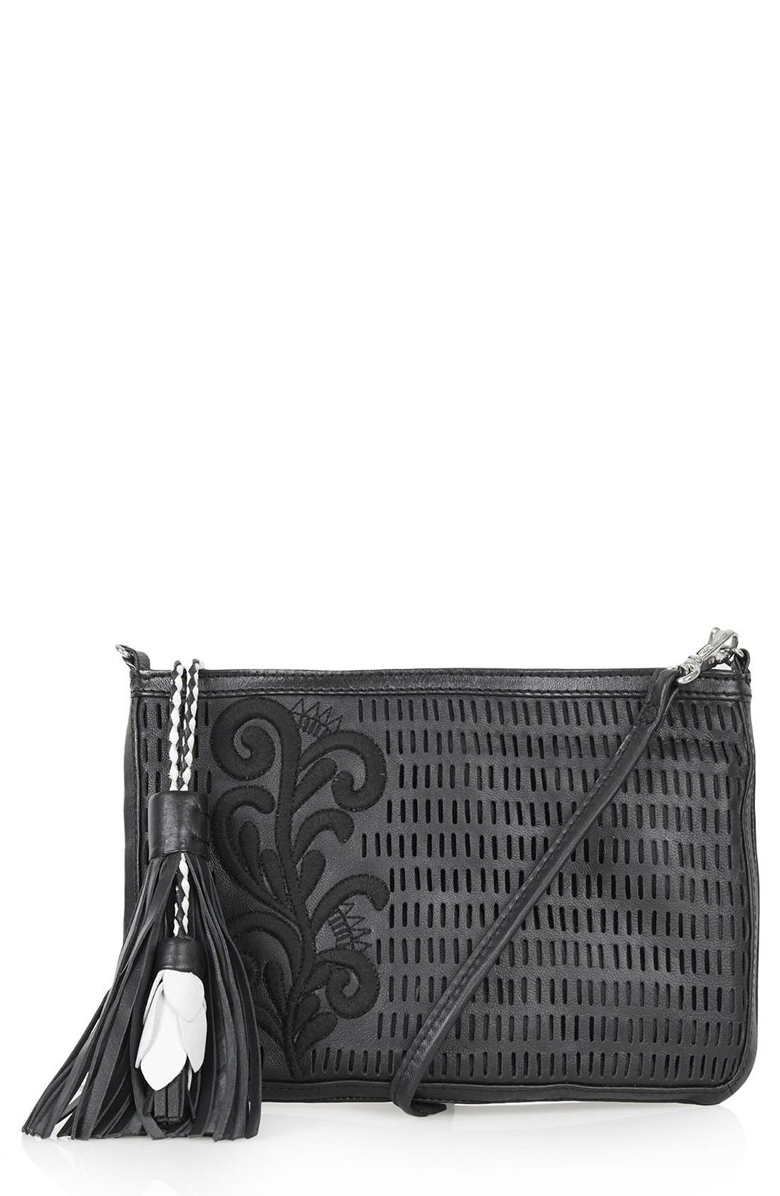 Alternate Image 1 Selected - Topshop Floral Tassel Crossbody Bag