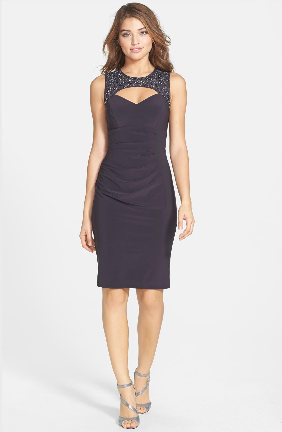 Alternate Image 3  - Xscape Embellished Lace & Jersey Cutout Sheath Dress