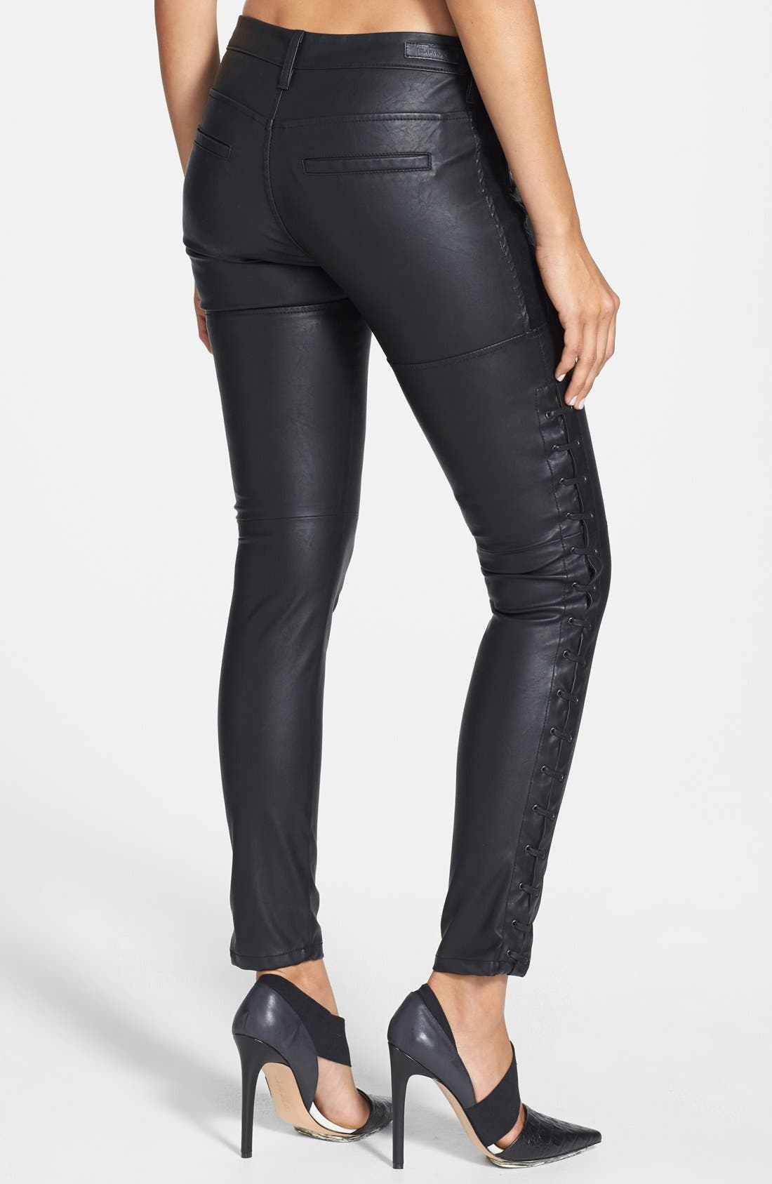 Alternate Image 2  - BLANKNYC Faux Leather Lace-Up Pants