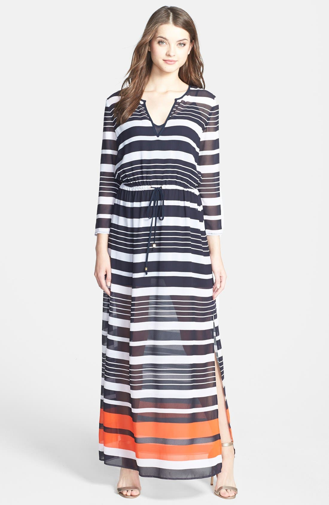 Main Image - MICHAEL Michael Kors 'Helsinki Stripe' Georgette Maxi Dress